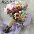 2016 Дешевые Сирень Фиолетовый Свадебные Букеты Лента Искусственные Bridesmaids Buques Para Casamento Невесты Руки с Цветами в Руках