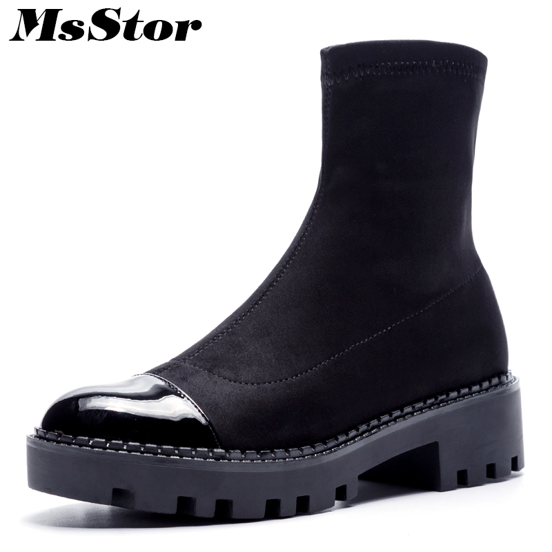 MsStor Round Toe Thick Bottom Women Boots Casual Fashion Concise Ankle Boots Women Shoes Mature Elegant Platform Boots Women msstor round toe thick bottom women boots casual fashion concise ankle boots women shoes mature elegant platform boots women