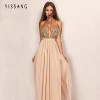 Hot Sale Party Maxi Dress Sling Evening Deep V Neck Backless Sequin Top Patchwork Sexy Elegant