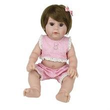 big eyes Reborn Baby Doll 43cm silicone Vinyl Girl Realistic bebes reborn doll wear Fashion pink plaid clothes Kids gift toy