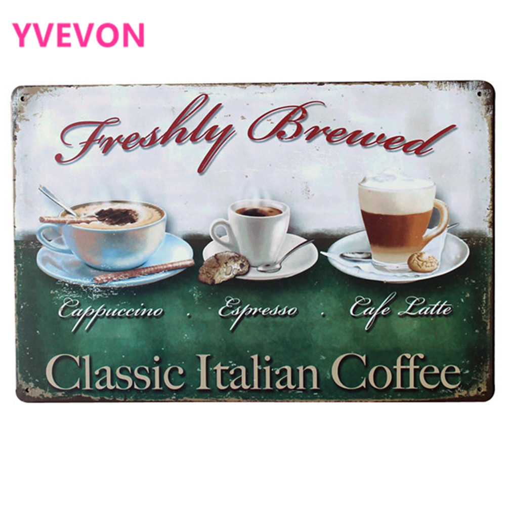 Čerstvě uvařená klasická italská káva podepsat Retro plechová deska pro malování kovů pro kavárnu Latte Espresso SPM9-4 20x30cm B2