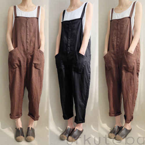 7fbe51a8959 Linen Pants 2018 New Fashion Womens Casual Loose Overralls Cotton Strappy Harem  Trousers Overalls Plus Size