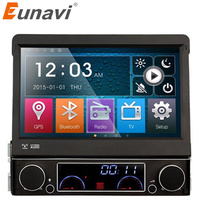 Eunavi Single 1 Din 7 Universal Touch screen Car DVD Player With GPS Navi Autoradio Car Stereo Audio Radio TV Bluetooth