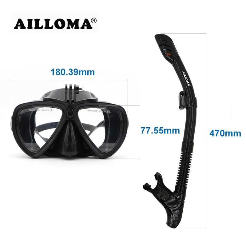 AILLOMA Réglable Boucle Caméra Plongée Masque Tuba Ensemble Complet Sec Tube Plongée En Apnée Anti-Brouillard Lunettes Plongeur équipement Ailettes - 6