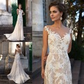2016 Ivory Wedding Dresses Boat Neck Lace Mermaid Wedding Gowns Backless Appliques Sweep Train Sleeveless Bridal Gowns