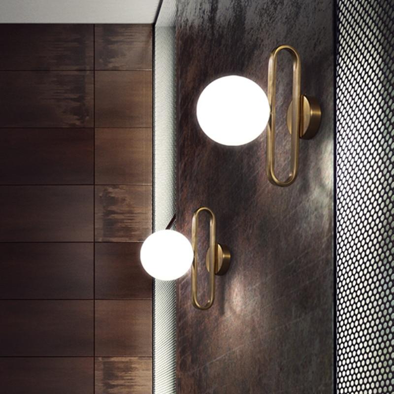 Nordic Glass Ball Bedside Wall Lamp Fashion Retro Brass Molecule Design Kitchen Foyer Study Decorative Led