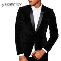 Black Men Suits 2018 Wedding Velvet Groom Tuxedos Men's Classic Suits Slim Fit Best Men Blazer Prom Party Shawl Lapel 2 Pieces