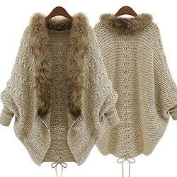 Moda feminina gola de pele do falso casaco batwing manga solta casual cardigan quente xale camisola