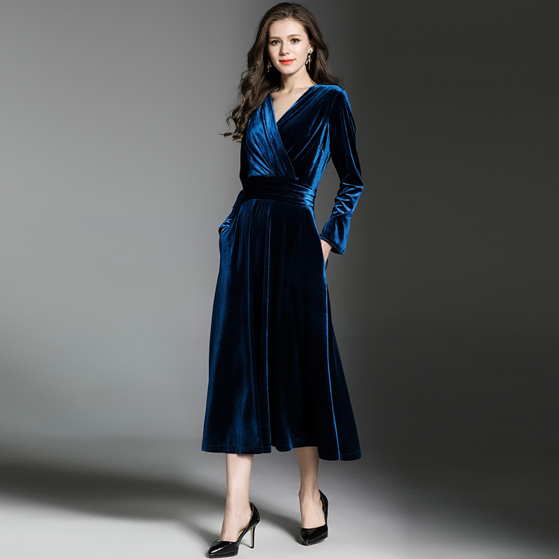 2d33ddaba3359 Robes Bleu Longue 2019 Femmes D hiver Robe Paon Velours Maxi qIn7dw61H