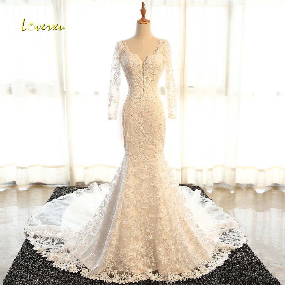 Loverxu Sexy Backless Lace Long Sleeve Mermaid Wedding Dress 2017 Luxury Appliques Beaded Court Train Bride Gown Robe De Mariage