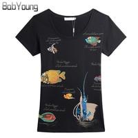 BabYoung 2017 Zomer Tops Vrouwen T-shirts Zeilvis SeaWorld Patroon Tee Shirt Femme Handgemaakte T-shirt Dames Korte Mouw Tshirt