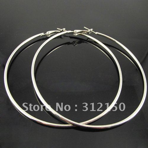 111dadcaf3dae US $14.99  Free Shipping 36 pairs 50 60 70mm Silver Plated Hoop Earrings  Wholesale Fashion Earring Big Hoop Earring-in Hoop Earrings from Jewelry &  ...