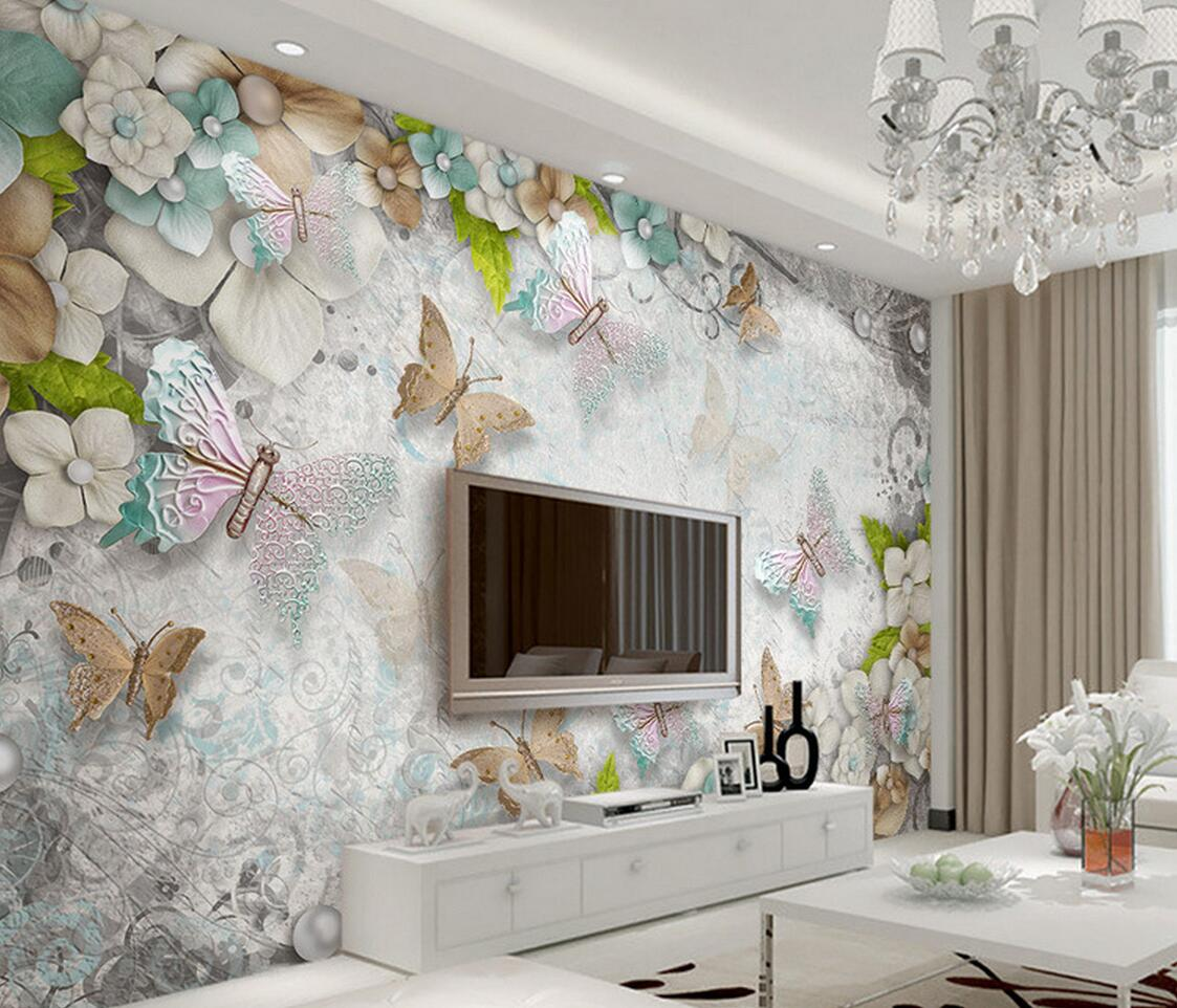 European 3D Embossed Flower Butterfly Wall Mural Photo