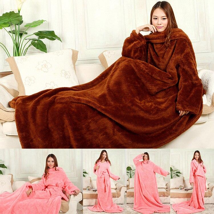 Child Adults Men Thicker Spring/Autumn Winter Warm Wearable Burgundy Snuggie Fleece Blanket with Sleeves seen TV Sofa Blanket