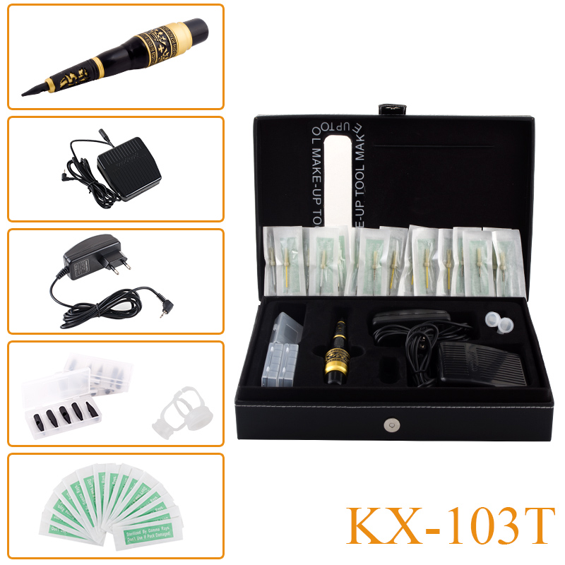 KX-103T Dragon Permanent Makeup Eyebrow Lips Eyeliner Tattoo Mosaic Machine Kit Cosmetic Pen Pedal Needles Tips Power Supply newly arrived import motor performance tattoo permanent makeup machine pen eyebrow lips tattoo machine