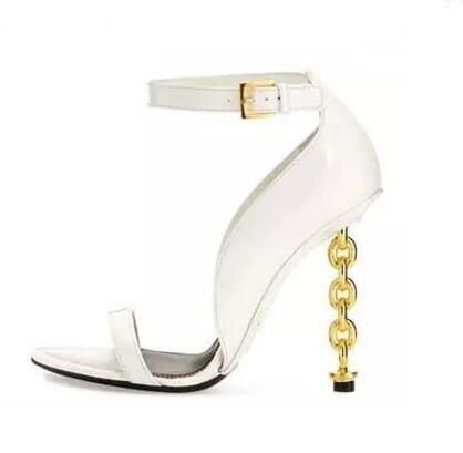 купить Sexy Gold Chain Heel Sandal For Women Peep Toe Metal Decor Glatiator Sandals Boots For Women Thin Heel Dress Shoes Size 10 онлайн