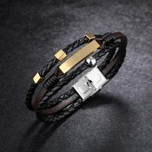 Fashion bracelet for Men Genuine Leather with Cross