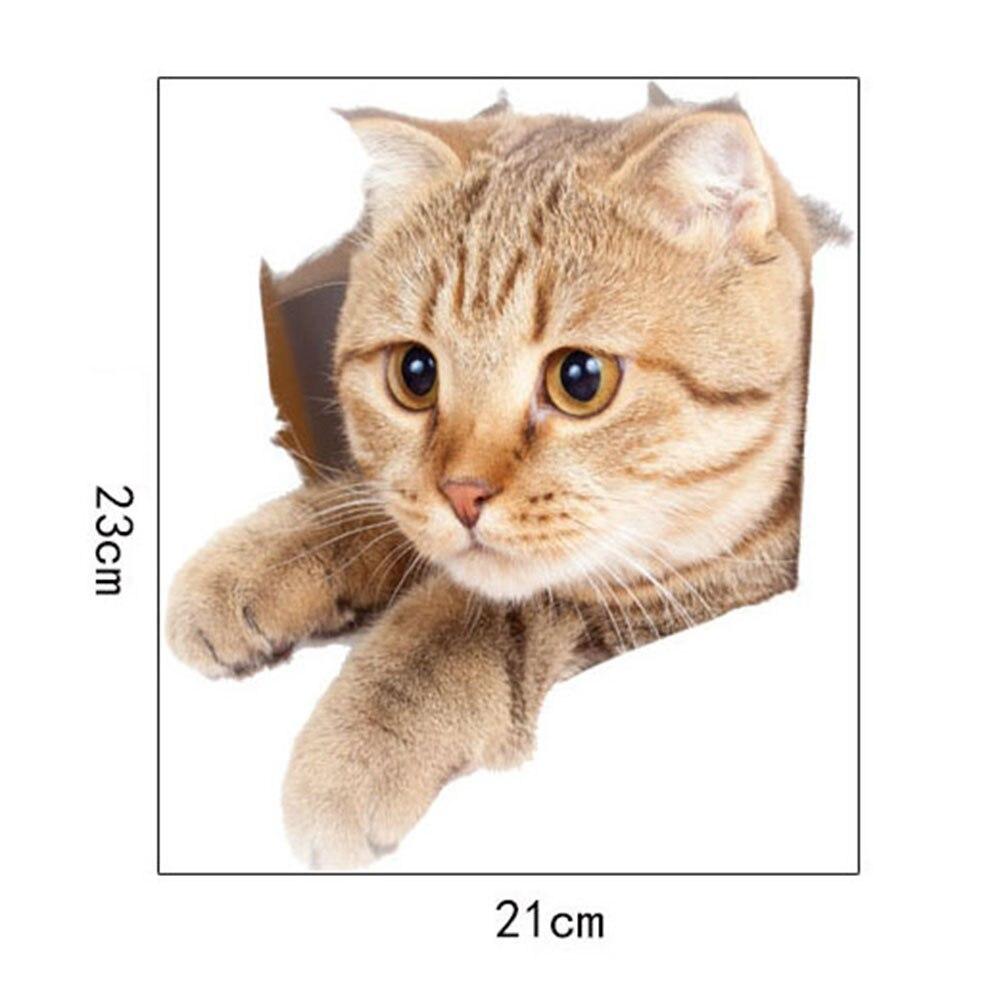 """1 шт. 3D милые наклейки """"сделай сам"""" с котом, наклейки на стену для всей семьи, украшения для окна, комнаты, ванной комнаты, унитаза, декоративные кухонные аксессуары - Цвет: 23 x 21 cm-19"""