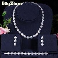 BeaQueen 3 pcs Clear CZ Crystal Choker Necklace Earrings Bracelet Cubic Zirconia Women Bridal Wedding Jewelry Sets JS054