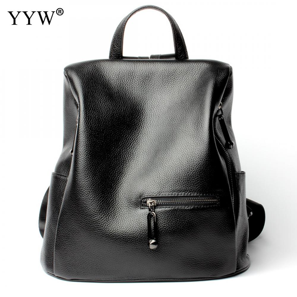 Fashion Black Genuine Leather Backpack Female Backpacks for Adolescent Girls Women Small Travel Bag Casual School Bag chu jj new arrival genuine leather women backpacks fashion backpacks for girls casual travel women school bag