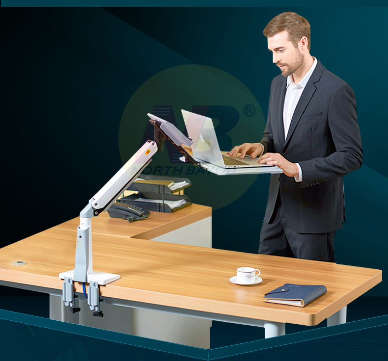 NB FB17 Full Motion Sit Stand Desk Foldable Gas Spring Arm 11-17 inch Laptop Holder Notebook Stand Riser Keyboard Tray Lapdesk
