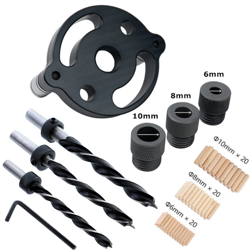 6/8/10mm Wood Dowelling Self Centering Drill Guide Kit Hole Puncher Locator Jig Vertical Pocket Hole Jig For Woodworking Tools