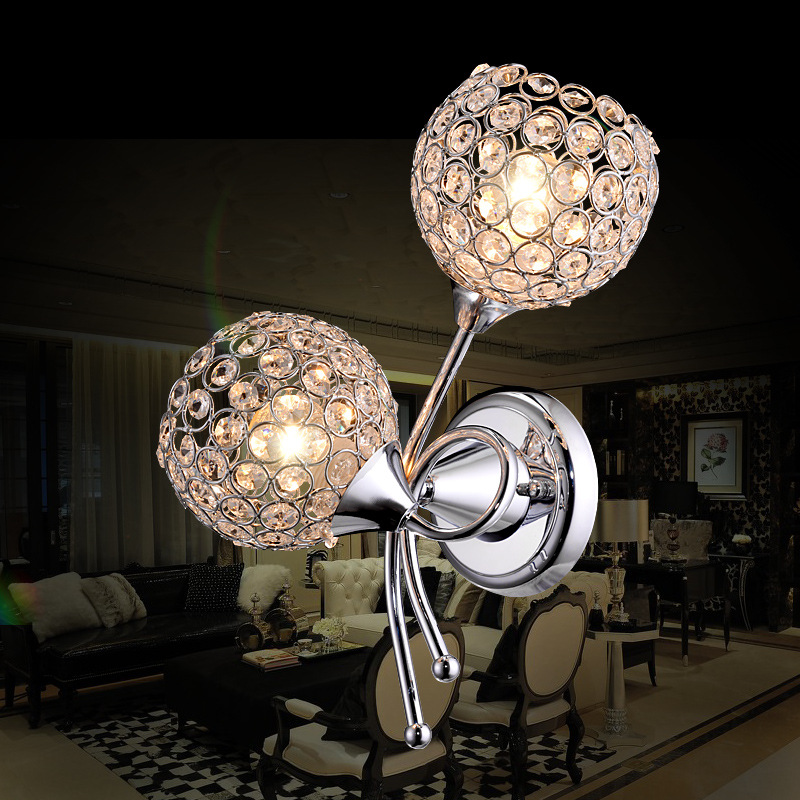 Modern Simple Iron Art Crystal Wall Lamp Creative Fashion LED Bedside Wholesale Led Sconce Indoor Light