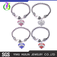 Awareness Alert four colors Crystal Heart letter DIABETIC wheat link chain Lobster Claw Bracelet wholesale diabetes jewelry