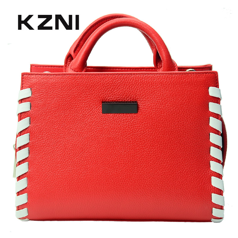 KZNI Real Leather Women Messenger Bags for Women 2017 Top-handle Bags Female Purses and Handbags Sac a Main Bolsa Feminina 1425 kzni genuine leather bag female women messenger bags women handbags tassel crossbody day clutches bolsa feminina sac femme 1416