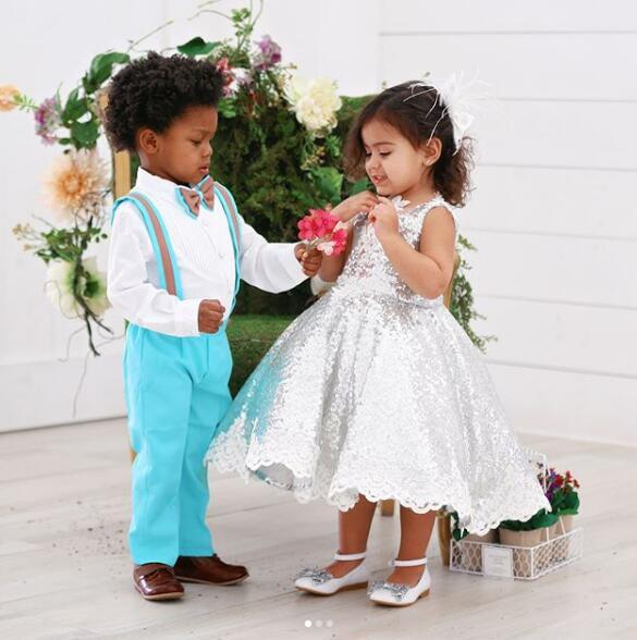 Mode v-cou princesse bling argent paillettes enfant en bas âge pageant robe de demoiselle d'honneur pour la fête d'anniversaire avec des cristaux de dentelle - 2