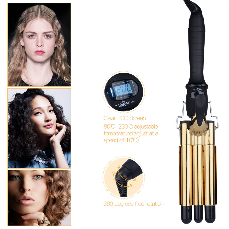 Professional LCD Digital Ceramic Electric Golden Hair Curler Triple Barrel Waver Curling Irons Hairdressing Tool Curly Wand 15 25mm ceramic bead hair curler roller 110 240v 60w hair curling irons professional ptc heating curl hair style tool with glove