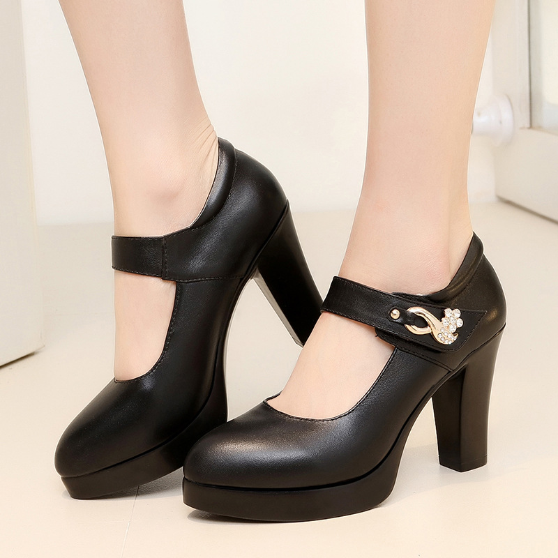 Women Shoes Mary Jane Ladies High Heels White Wedding Shoes Spring Thick Heel Pumps Shoes Black Pink Plus Size 44 цена