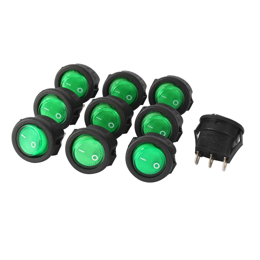 10Pcs AC 250V/3A 125V/6A 3 Pins Mini SPST 2 Position Green Lights Toggle Round Boat On/Off LED Illuminated Rocker Switch 10pcs ac 250v 3a 2 pin on off i o spst snap in mini boat rocker switch 10 15mm