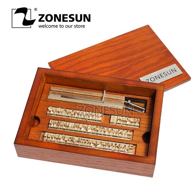 ZONESUN 6 مللي متر T فتحة 10 سنتيمتر تركيبات + 52 حروف الأبجدية + 10 أرقام + 20 رمز مخصص ختم الجلود حنين أداة العلامة التجارية آلة الحديد