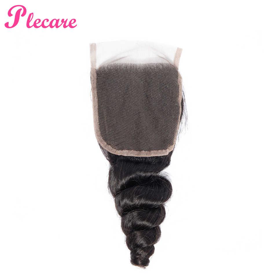 Plecare малазийские Свободные волны 4*4 Кружева Фронтальная застежка 1 шт натуральный цвет 8-20 дюймов не Реми 100% человеческих волос для наращивания