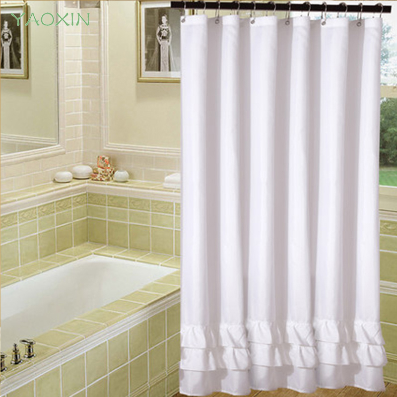 white lace shower curtain for bathroom polyesters waterproof stocked mildew thicker warm keep wedding decoration curtains