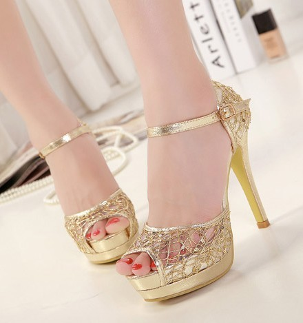 open toe sandals for women party shoes woman new 2014 ladies peep toe platform pumps sexy thin high heels fashion gold C196
