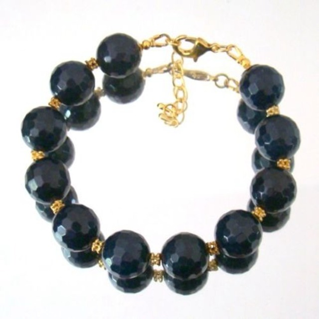 Natural Stone Jewelry Classic Dark Blue Sapphires Beads  Bracelet for Women (length 21cm)