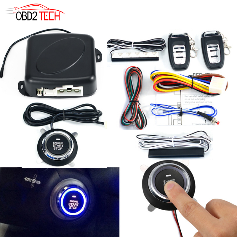 Car SUV PKE keyless Entry Engine Start Alarm System Push Button Remote Starter Universal Smart Car Start Button System