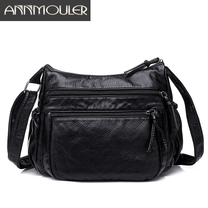 Annmouler Brand Women Bags Pu Leather Shoulder Bag Soft Washing Leather Crossbody Messenger Bag Black Double Zipper Casual Bags