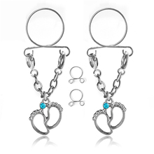 2PCS Fashion Non Pierced Clip On Fake Nipple Ring Pregnant Woman's Ankle Body Piercing Jewelry Nipple Rings Adjustable Sexy Gift