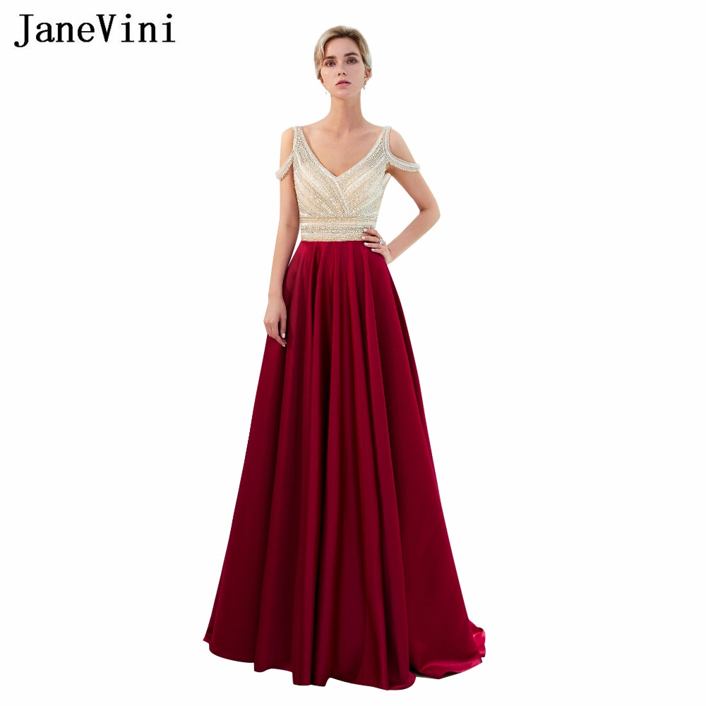 Janevini Luxurious Beaded Sequins Burgundy Plus Size Bridesmaid Dresses A Line V Neck Backless Satin Long Prom Gowns Sweep Train
