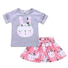 Children Girls Gray Cartoon Rabbit Printed Short Sleeve T-Shirt + Cute Skirt Two Piece Set Kids Clothing