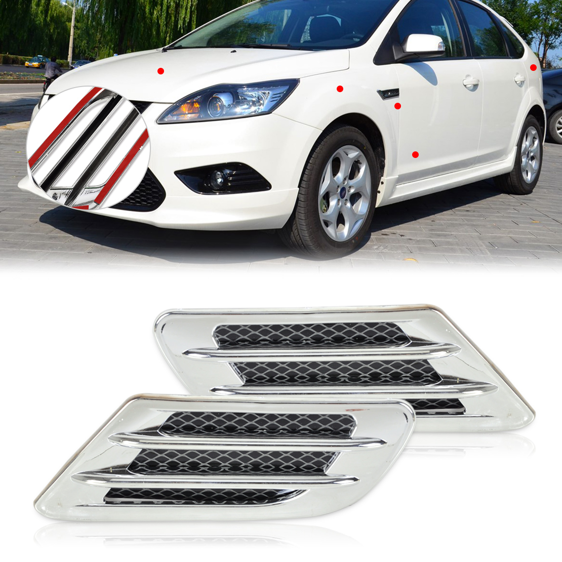 DWCX Car Side Air Vent Fender Cover Hole Intake Duct Flow Grille Sticker Trim For Mercedes Honda Nissan Hyundai Kia VW Audi 2017 chromed abs plastic car side air vent fender cover sticker for toyota camry solara celica celsior century corolla fielder