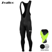 Zealtoo Warm 2018 Winter Thermal Fleece Black Cycling Long Bicycle Bib Pants Gel Pad Bike Bib Tights Mtb Men Ropa Ciclismo недорого