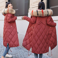 2018 New Arrival Winter Jacket Women With Colorful Fur Hooded Womens Jackets Winter Outwear Long Female Coat Parka Slim