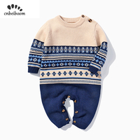 2019 Boys baby rompers spring winter knitwear baby infant outerwear boy jumpsuit cotton long sleeve clothes Sweater folk custom