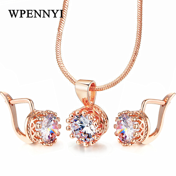 Top Quality Crown Shaped Jewelry Set Necklace/Earrings Rose Gold Color Hearts & Arrows cut 7mm 1.25ct Zirconia Fashion Gift