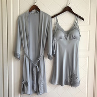 Female Sleepwear Sexy Lace Robe & Gown Sets Sleep Lounge Long Sleeve Lace Twinset Thin Section Rayon With Removable Pad Pijama