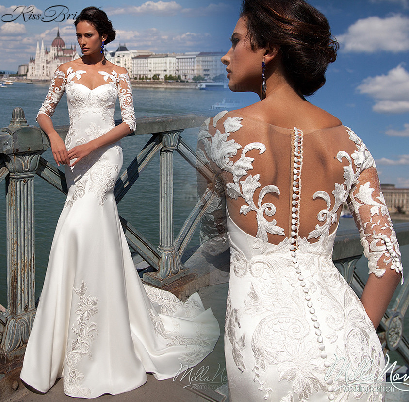 Sexy new beach wedding dresses 2017 scoop neck half for Aliexpress wedding dresses 2017